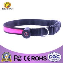 nylon LED flashing dog collar logo printed optional