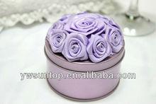 Romantic wedding candy box rose purple round tin box