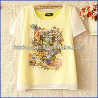 2013 the latest popular style design summer chiffion ladies t-shirt