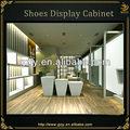 led iluminado moutned de pared de madera estante de exhibición para la venta de zapatos