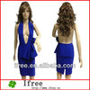 Top rayon bandage blue peplum design backless sexy dress women dress