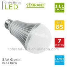 Sales champion! 110 lm/W, CRI >85, CE SAA approved e27 led bulb 7w