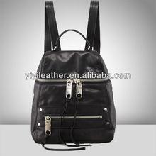 2598-2015 Newest leather back pack zipper black backpack