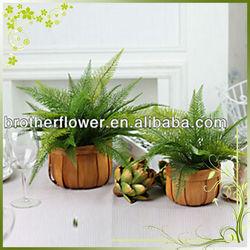 Wholesale artificial geenery plastic ferns grass plant leaves bonsai pots decorative