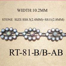 High quality Fashion Eye design rhinestone cup chain for national style women garment,rhinestone banding trimming(RT-81-B-AB)