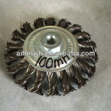 "4"" Twist Knot steel wire bevel brush for 100mm grinder"