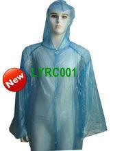 Disposable blue Polythene waterproof adult's raincoat