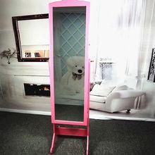 Standing decorative silver mirror jewelry armoire