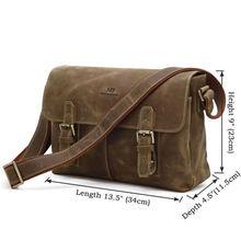 Hot Selling Crazy Horse Leather Men's Brown Messenger Bag Crossbody Bag # 6002B