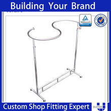 Tailor made clothes rack shiny stainless steel tube gondola