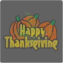 Happy Thanksgiving Pumpkin Rhinestone Transfer Wholesale
