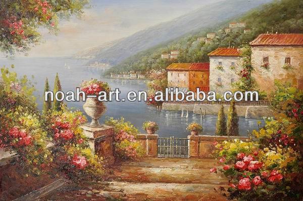 Famous mediterranean seaside landscape oil painting view for Artworks landscape ltd