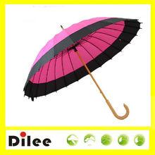 Pink rain designs 24k wooden handle stick umbrella