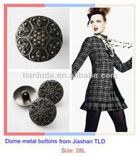 Jiashan TLD half ball embossed metal button