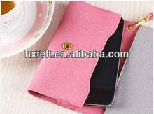 Pretty pink felt ladies phone bag for Apple iphones