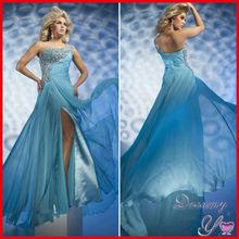 Beautiful One Shoulder Sequined Beaded Split Blue Princess Prom Dresses