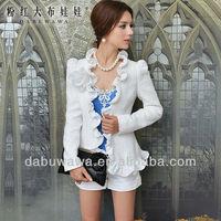 Dabuwawa Female's white chiffon slicing flounced slim jacket adult elegant suit