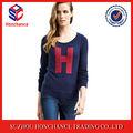 """Con """" H """" azul marino cuello acanalado mujeres chompas suéter de alpaca"""
