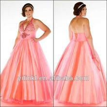 Elegant Halter Beaded Puffy Tulle Evening Dress For Fat Women