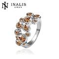 em forma de flor de ouro chapeado anel de sinete r016