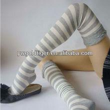 Korean Fashion 2015 Promotion SEX Body Princess College Stripe Long Tube Open Legs knee high Compression Cotton Stocking