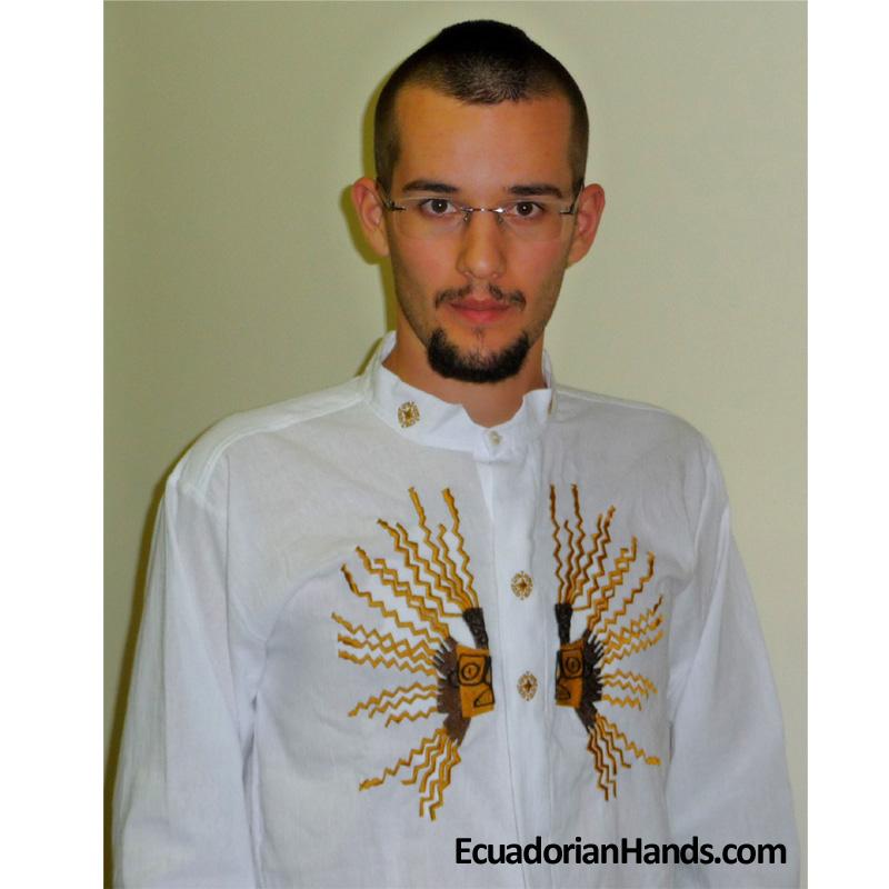 Vestuário étnico - Otavalo camisa 1 mão bordado 100% algodão