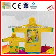 Eco-friendly Breathable yellow raincoats for kids