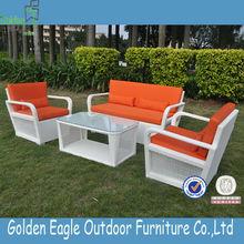 new style 4 pcs white modern rattan wicker outdoor furniture