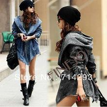 2015 Stylish Women's Denim Hooded Long Sleeve oversized denim jacket 8629