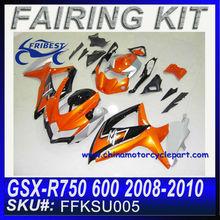For SUZUKI GSX-R750 600 2008-2010 SILVER&ORANGE vfr fairing kit FKSU005
