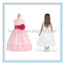 HD199 Ball Gown Ribbon Edge Hot Pink Latest Designs For Flower Girl Dress