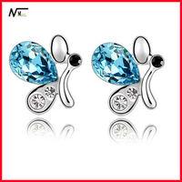 Oxidised Jewellery Crystal Butterfly Shaped Stud Earrings Express Alibaba