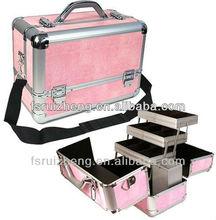 Pink aluminum hair beauty case with shoulder belt RZ-T033P