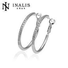Latest White gold large hoop earrings for girls LKN18KRGPE020