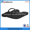 ultra suave tejido de la correa de goma esponja suela negro damas sandalias de playa