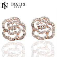 OEM&ODM available gold earring designs for women LKN18KRGPE044