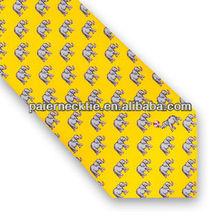 2013 Fashion Design Print Elephant Yellow Necktie