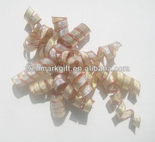 HOT SAL ! Gold Metallic Woven Ribbon Curly Bow, Fabric Ribbon Gift Bow, Woven Ribbon Christmas Curl Swirl for Holiday