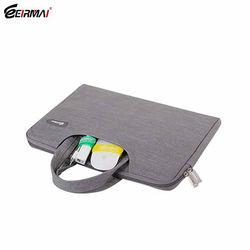 Gray Denim fabric portable laptop bag