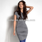 high quality casual fashion cotton jersey knit tight fit women column dress asym neck