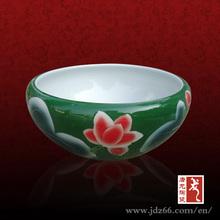 Green ceramic fishing jar louts flower design