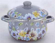 High quanlity carbon steel cookware/ white enamel cooking pot with full flowers