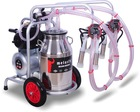 Melasty Double Milking Machine (Mobile) - Stainless Steel Bucket / Silicon Liners / 240cc Milk Claw