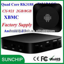 Quad Core RK3188 Android 4.2 HDMI TV Box HDD Player mini PC cx-921