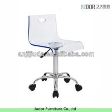 Swivel acrylic bar stool with wheels