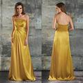 Populaires long bustierquailty dos ouvert robe de demoiselle d'honneur en satin à volants en or jaune
