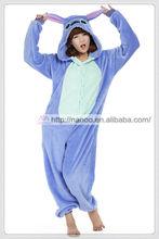cartoon animal onesie coral fleece sleepwear for adults blue Stitch pajamas