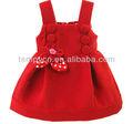 Alta qualidade vermelha linda menina de lã e vestido de festa com decoração da flor do applique para outono inverno/de lã crianças vestuário