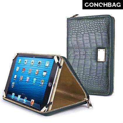 Hot vente! Crocodile texture cas glissière de portefeuille pour ipad mini avec dragonne