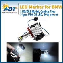 40W USA CR E92 H8 LED Angel Eyes Halo Ring Marker Light Bulbs Xenon White 6000K for BMW E87 E82 E90 E91 E92 E93 E60 E61 E84
